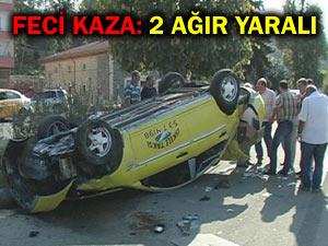 Pazarın ticari taksisi Ardeşende kaza yaptı