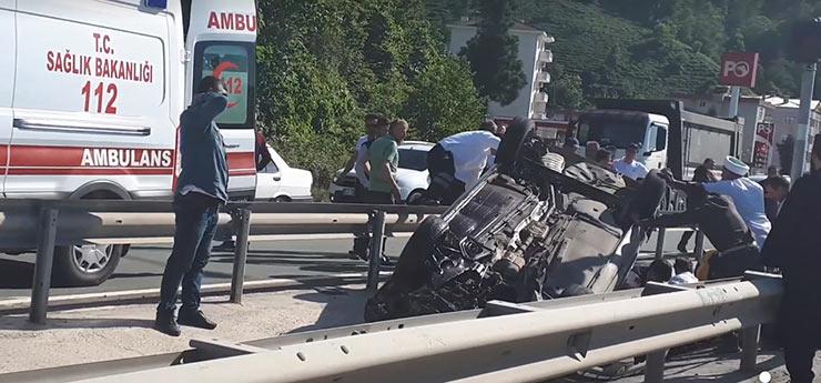 Rize'de trafik kazası: 1 ölü, 2 yaralı